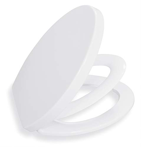 Bath Royale BR631B-00 Premium Elongated Family Toilet Seat with Built-In Child Seat and Cover, White, Slow-Close, Quick-Release for Easy Cleaning. Fits All Elongated Toilets