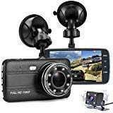 Dash Cam Front and Rear, FANZY 4'' HD Screen Dual Cam Blackbox, FHD 1080P 170° Wide Angle Car Camera Recorder with Parking Monitor, Night Vision, G Sensor, Motion Detection, Loop Recording