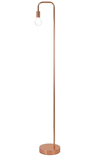 Floor Lamp for Living Room, Industrial Rose Gold Metal Reading Lamp, Contemporary Bedroom Décor, Led Bulb 4W Gifts by LA JOLIE MUSE