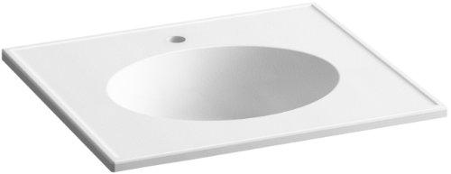 KOHLER K-2791-1-G81 Ceramic/Impressions 25-Inch Oval Vanity-Top Bathroom Sink with Single Faucet Hole, White (Kohler Evoke Single)