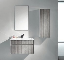 Wall Hung Vanity (Eviva EVVN12-36ASH Wall Mount Modern Bathroom Vanity Set High Gloss Ash Gray (Grey) with White Integrated Sink, 36