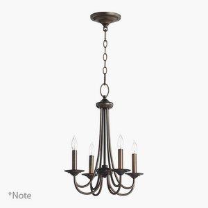 Quorum Lighting 6050-4-70, Brooks 1 Tier Chandelier Lighting, 4LT, 80 Watts, Persian White