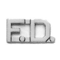 FD F.D. FIRE DEPARTMENT FIREFIGHTER Collar Brass Insignia Pins NICKEL 1/2