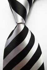 Playboy Bunny Costume Makeup (jacob alex #38186 Classic Necktie Striped Black White JACQUARD WOVEN 100% Silk Men's Tie)