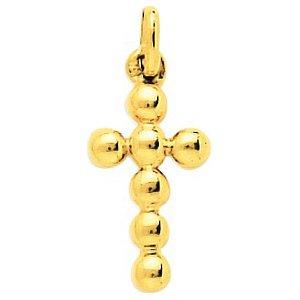 So Chic Bijoux © Pendentif Croix Christ Jésus Crucifix Boules Or Jaune 750/000 (18 carats)