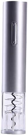 LDDPP Abridor de Vino Eléctrico, Kit de Abridor de Vino con Pilas, Sacacorchos Automático, con Cortador de Papel de Aluminio, para Casa, Restaurante, Fiesta y como Regalo,Silver