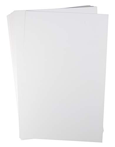 Cartulina blanca – 50 unidades de 28 x 43 cm, peso pesado, papel de papelería súper grueso, 300 g/m², tamaño de ledger,...