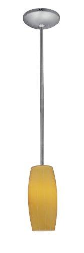 Cognac Glass Pendant - 1-Light Pendant - Rods - Fluorescent - Brushed Steel Finish - Amber Glass - Mini Fluorescent Pendant Amber