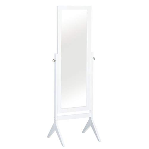 Giantex Bedroom Wooden Floor Mirror Full Length Cheval, 100% Solid Oak Wood Frame Rustic Rotary Swivel Mirror Stand, Free Standing Home Floor Dressing Mirror (White Rectangular Mirror) ()
