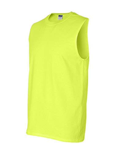 Gildan Men's Ultra Cotton Double Needle Sleeveless T-Shirt, Large, Safety - Tank Top Gildan Cotton