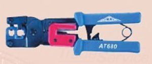 Allen Tel AT680 Multi-Function Crimping Tool with Ratchet Mechanism, Carbon Steel for RJ-11 and RJ-45 Modular Plugs