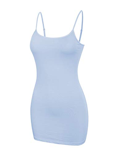 Shirt Pastel Ladies Tank Ribbed (Design by Olivia Women's Women's Basic Solid Long Length Adjustable Spaghetti Strap Tank Top Pastel Blue S)
