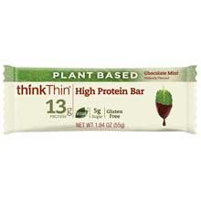 Think Thin Plant Base Chocolate Mint High Protein Bar, 1.94 Ounce -- 120 per case. by thinkThin