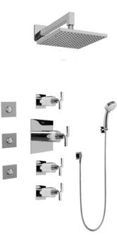 Graff GC1.132A-C9S-SN Contemporary Square Thermosatic Set w/Body Sprays & Handshower (Rough & Trim)