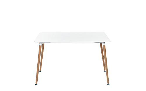 Modern White Small Space Dining Table with Natural Wood Legs (White) by Divano Roma Furniture