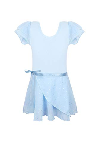 Girls leotards for dance ballet blue 4t 5t 4-5t skirted leotard with cover sequins sparkles ruffle sleeve