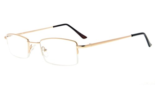 Eyekepper Half-rim Reading Glasses With Flex Memory Titanium Bridge Bendable For Men Women - Rim Less Glasses