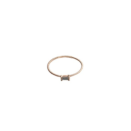 HONEYCAT Tiny Baguette Crystal Ring in Gold Plate, Rose Gold Plate Sterling Silver Plate | Minimalist, Delicate Jewelry (Rose Gold, 8)