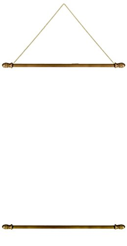 Pack of 2 Wooden Banner Wall Hanger Set Top and Bottom Poles with Removable Ends, 24 Inch