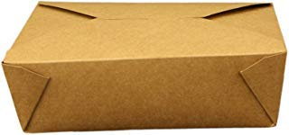 Take Out Containers Easy Fold & Close (Pack of 50) Box #3 Kraft Paper with Poly-coated Inside To-go Containers [76oz - 7.8