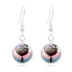 (1set Hot Air Photo Tibet Silver Dome Photo 16MM Glass Cabochon Long Earrings)