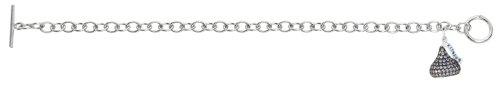 Sterling silver & lavender Cubic Zirconium 3D Hershey's Kiss June Bracelet with one Medium kiss