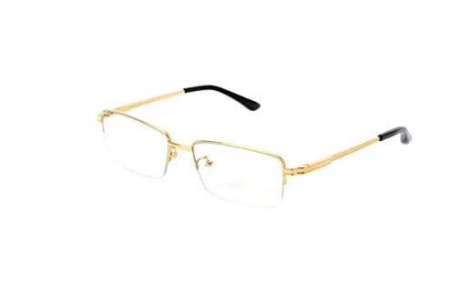 (Eileen&Elisa Lightweight Pure Titanium Half Rimless Glasses Frame, Flexible Anti Blue Light Computer Eyeglasses for Women/Men)