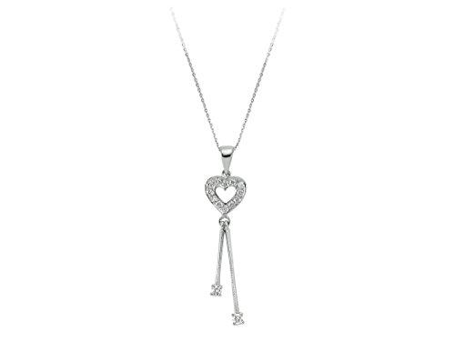 Collier Coeur de Diamant-Femme- or Blanc 204P0080