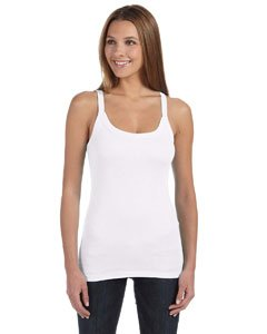 Bella Ladies Catrina Sheer Rib Tank, Large, White