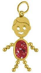 14k Birthstone Boy Charm Gold Face - Boy Face Gold Charm