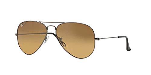 Ray-Ban Original Aviator Sunglasses (RB3025) Gunmetal Shiny/Brown Metal - Polarized - ()