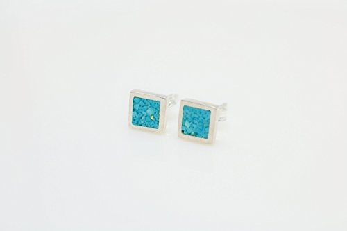 Square Turquoise Mosaic Micro Mosaic Sterling Silver Stud Earrings, Semi Precious Gemstone by Handmade - Stud Coral Turquoise
