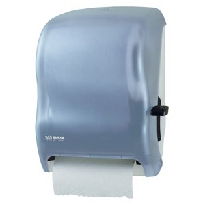 """San Jamar T1200 Classic Savvy Lever Roll Towel Dispenser with Auto Transfer, Fits 8"""" Wide and 8"""" Diameter Roll, 12-15/16"""" Width x 16-1/2"""" Height x 9-1/4"""" Depth, Arctic Blue"""
