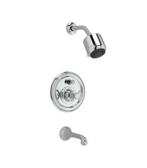 Jado 853495.150 Classic Pressure Balance Tub and Shower Trim Kit with Cross Handle, Platinum Nickel