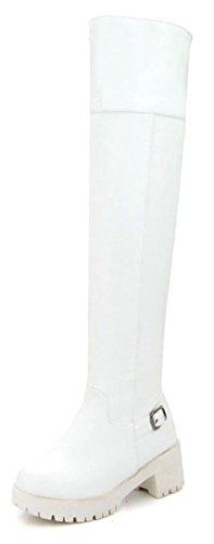 Aisun Damen Kunstleder Plateau Profilsohle Riemchen Schnalle Blockabsatz Langschaft Stiefel Weiß