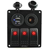 Ambuker 3 Gang Red Rocker Switch Panel with Power socket & 3.1A Dual USB with Decal Sticker Labels DC12V-24V for Car Marine Boat Trailer Rv Vehicles Truck by Ambuker