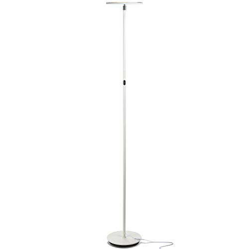Brightech Sky Flux – Modern LED Torchiere Floor Lamp for Living Rooms & Bedrooms – Adjustable Warm to Cool White – Tall Pole, Standing Office Light – Bright, Minimalist & Contemporary Uplight – White