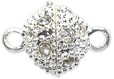 Shipwreck Beads Electroplated Metal Ball Magnetic Clasp with Rhinestone, 8 mm, Silver, 4-Pack (Ball Clasp Pave)
