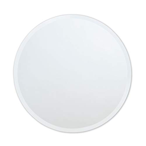 Round Frameless Wall Mirror | Bathroom, Vanity, Bedroom Mirror | 24-inch Diameter Circle | Beveled Edge (With Circles Mirror)