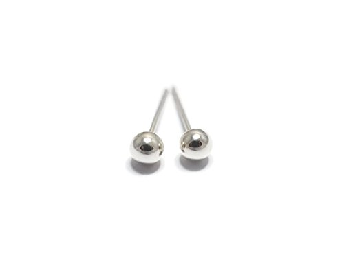 4mm Silver Ball Stud Earrings (Evil Bunny Costume)
