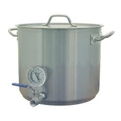 8 Gal Beer Brewing Kettle w/ welded Valve & Thermometer with tri-clad 5mm bottom by Learn To Brew LLC