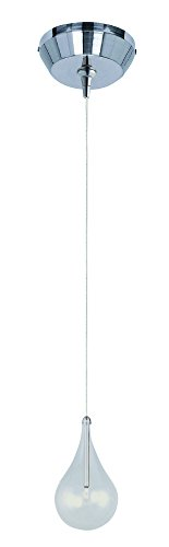 ET2 E94310-18SN Larmes 1-Light RapidJack Pendant and Canopy Mini Pendant, Satin Nickel Finish, Clear Glass, 12V G4 Xenon Bulb, 50W Max., Dry Safety Rated, 3300K Color Temp., Built In Dimmable, Shade Material, 225 Rated Lumens ()