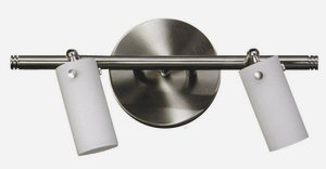 Whitfield Lighting TP218-2SS Nina - Two Light Track, Satin Steel Finish with White Glass