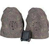 Audio Unlimited Spk-Rock 2 Duo 900MHz Wireless Indoor/Outdoor Rock Speaker with Dual Power Transmitter, Granite