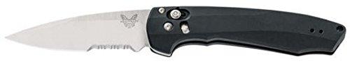 Benchmade - Arcane 490 Knife, Drop-Point Blade, Serrated Edge, Satin Finish, Black Handle