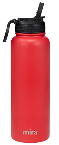 (MIRA 40 oz Stainless Steel Water Bottle with Straw Lid | Vacuum Insulated Travel Thermos Flask Keeps Cold for 24 Hours, Hot for 12 Hours | BPA-Free Straw Cap | Red)
