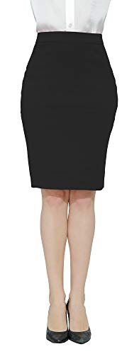 Marycrafts Women's Work Office Business Pencil Skirt L Black ()