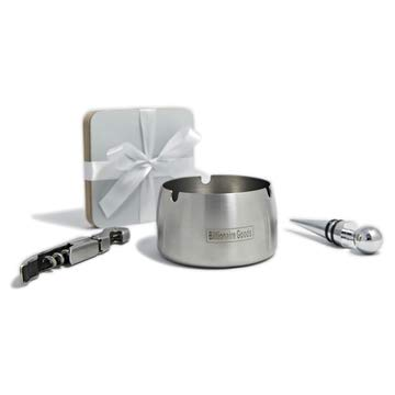 Billionaire Goods Silver Stainless Steel Ashtrays for Cigarettes - Good for Indoor & Outdoor Use - Includes Ashtray, Bottle Opener,Bottle Stopper, Set of 4 Grey Coasters, (4 Items)