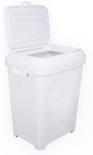 Suave Caja de almacenamiento for mascotas Pet envase de alimento, perro multifunción pienso seco tirón la caja de almacenaje del compartimiento del cubo del gato Capacidad 25 kg / 35L blanca: Amazon.es: