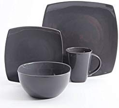 Gibson Home Soho Lounge Square Stoneware 16-piece Dinnerware Set - Gray - 16 Home Piece